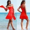 2014新款百变飘带裹胸沙滩裙 多穿法时尚聚胸女裙